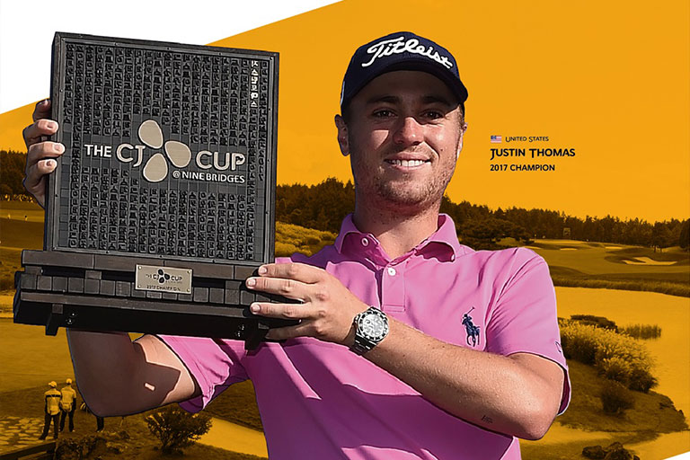Defending champion Justin Thomas participates in THE CJ CUP @ NINE BRIDGES for a second straight win